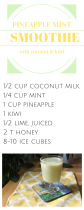 Pineapple, mint, coconut and kiwi smoothie